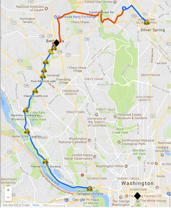Capital Crescent trail map